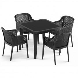 Czarny zestaw OGRODOWY 4 krzesła + stół 90x90
