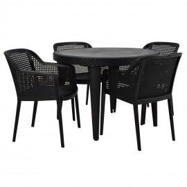 Zestaw OGRODOWY 4 krzesła + stół 90x90 Coffe
