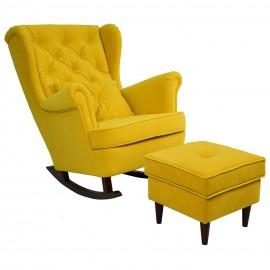 Musztardowy fotel bujany USZAK podnóżek welur PIKKatalog  Produkty
