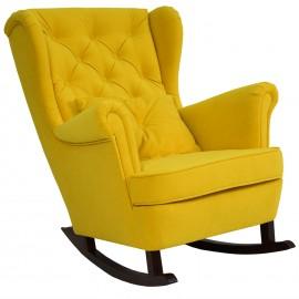 Musztardowy fotel bujany USZAK płozy welur PIK