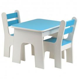 Drewniany stolik + 2 krzesełka ze schowkami