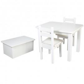 Drewniany stolik + 2 krzesła + skrzynia na zabawki
