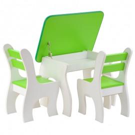 2 krzesełka ze schowkami + drewniany stolik
