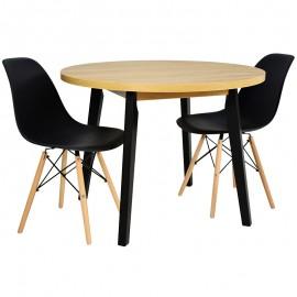 Stół okrągły 100 cm + 2 CZARNE krzesła