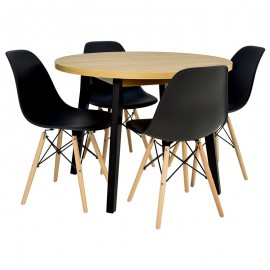 Stół okrągły 100 cm + 4 CZARNE krzesła