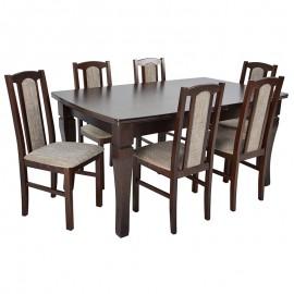 Stół rozkładany do 400 cm +6 krzeseł orzech
