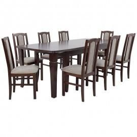 Stół rozkładany do 400 cm + 8 krzeseł orzech