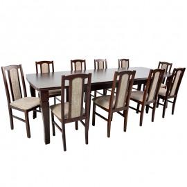 Stół rozkładany do 400 cm + 10 krzeseł orzech