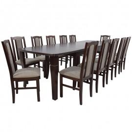 Stół rozkładany do 400 cm + 12 krzeseł orzech