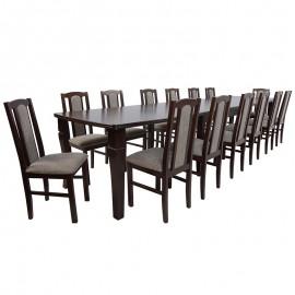 Stół rozkładany do 400 cm + 14 krzeseł orzech